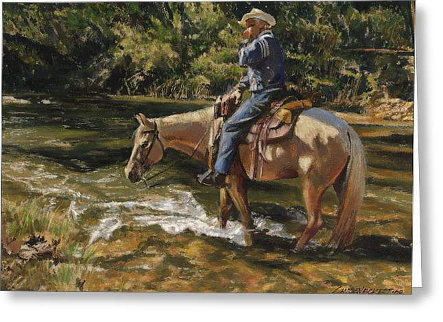 Man On Horse Cooling Feet Greeting Card