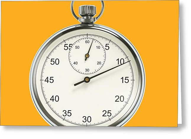 Stopwatch On Yellow Background Greeting Card by David Parker