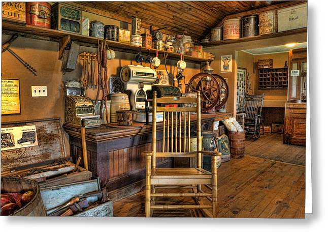 Store - The American General Store Greeting Card by Lee Dos Santos