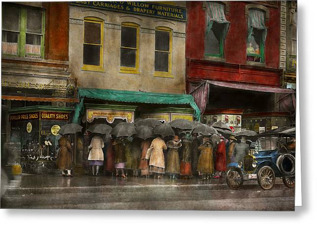 Store - Big Sale Today - 1922 Greeting Card by Mike Savad