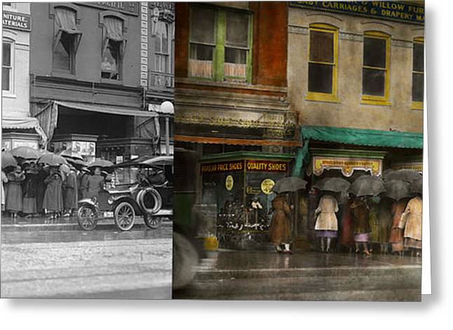Store - Big Sale Today - 1922 - Side By Side Greeting Card by Mike Savad