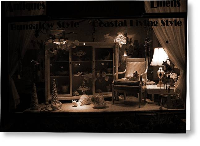 Store Window At Night Greeting Card by Phil Penne