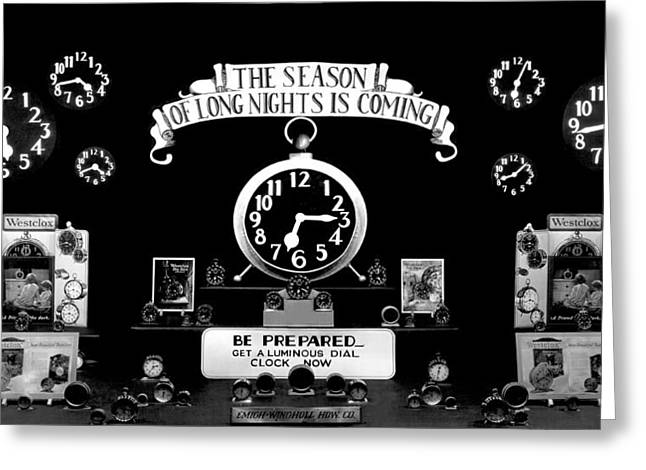 Store Window Clock Display Greeting Card by Underwood Archives