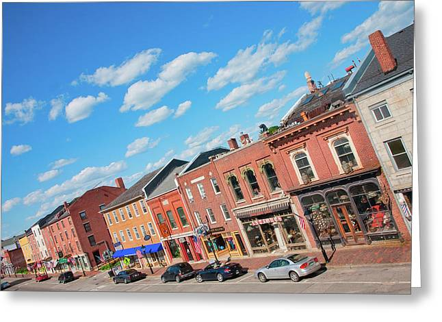 Storefronts Line Water Street Greeting Card