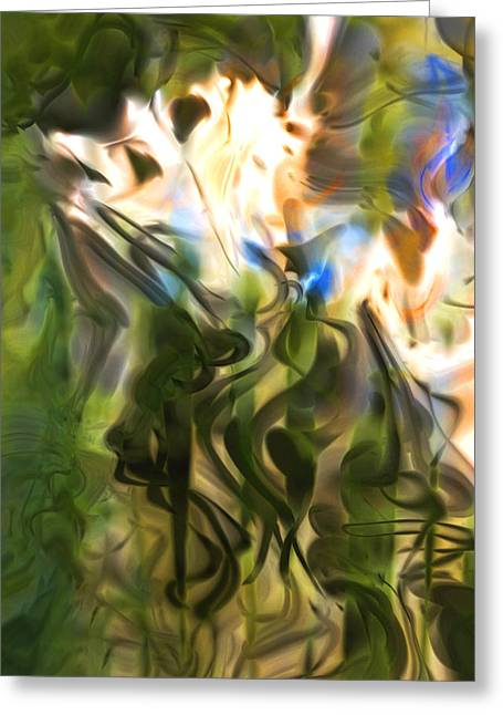 Greeting Card featuring the digital art Stork In The Music Garden by Richard Thomas