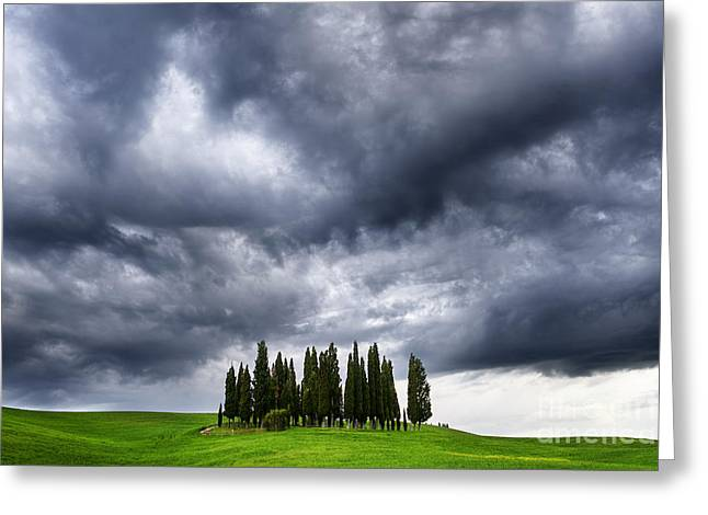 Storm Approcing The Tuscan Countryside Greeting Card
