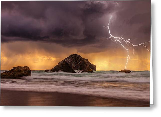 Storm At Face Rock Greeting Card by Darren  White