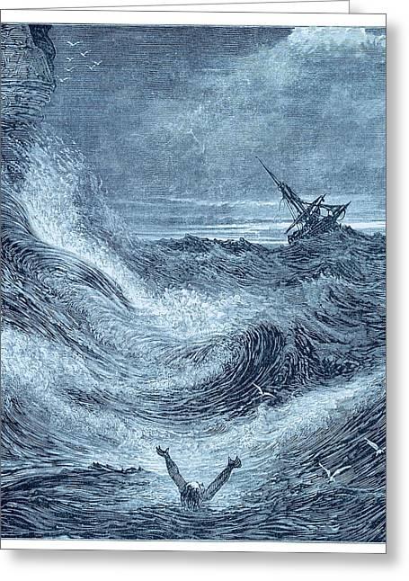 Storm At Sea. Greeting Card