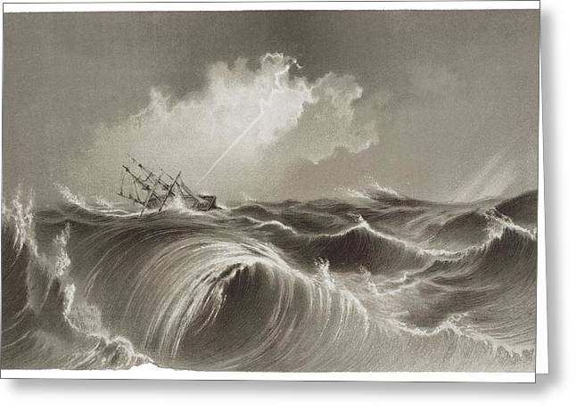 Storm At Sea Engraving Greeting Card