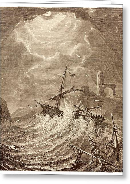 Storm At Sea Off The Cornish Coast Greeting Card