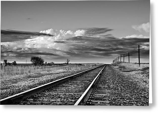 Storm Cloud Above Rail Road Tracks Greeting Card