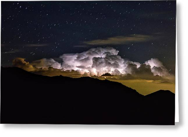 Storm Cloud Looms Over The Mummy Range Greeting Card by Keith Ladzinski