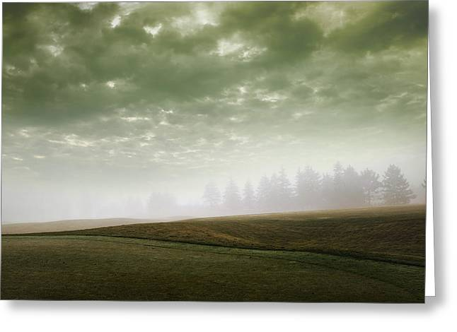 Storm Clouds And Foggy Hills Greeting Card by Vast Photography