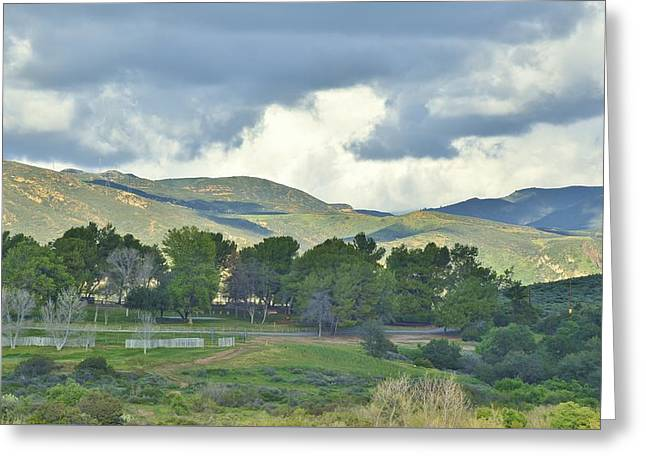 Storm Clouds From Santiago Canyon Road Iv Greeting Card by Linda Brody