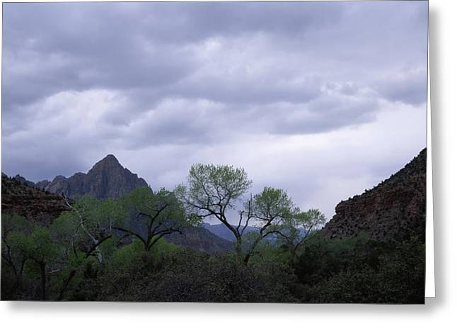 Storm Clouds Over A Mountain Range Greeting Card by Panoramic Images