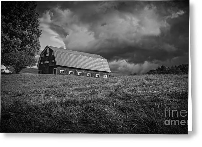 Storm Clouds Over The Farm Greeting Card by Edward Fielding