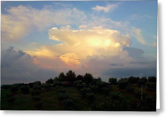 Storm Clouds Reflecting Sunset Greeting Card