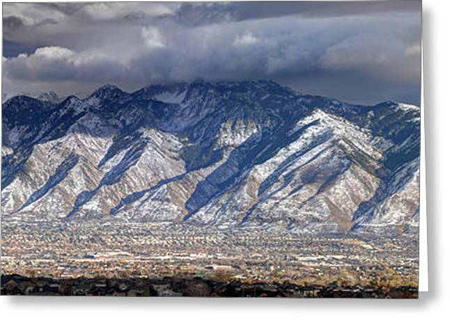 Storm Front Passes Over The Wasatch Mountains And Salt Lake Valley - Utah Greeting Card