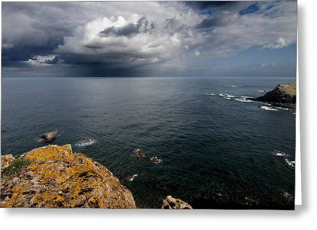 A Mediterranean Sea View From Sa Mesquida In Minorca Island - Storm Is Coming To Island Shore Greeting Card by Pedro Cardona
