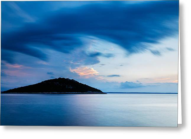 Storm Moving In Over Veli Osir Island At Sunrise Greeting Card