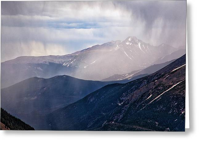 Storm Near Longs Peak Greeting Card by Adam Pender