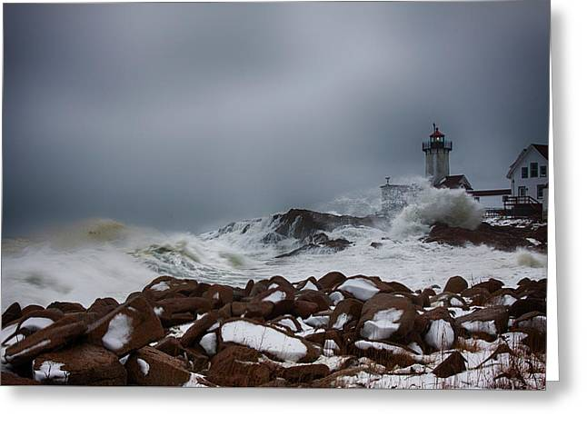 Storm Off Eastern Point Lighthouse Greeting Card