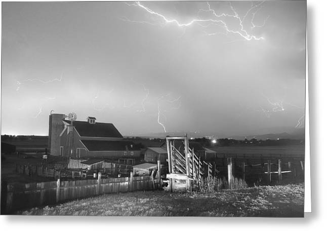 Storm On The Farm In Black And White Greeting Card