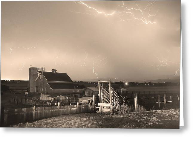 Storm On The Farm In Black And White Sepia Greeting Card