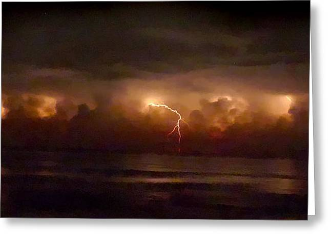 Storm On The Surf. Melbourne Shores. Greeting Card by Chris  Kusik