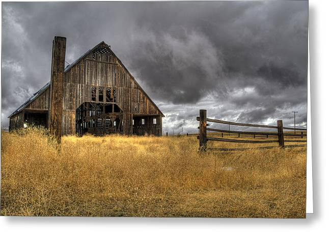 Storm Over Abandoned Barn Greeting Card by Jean Noren