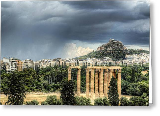 Greeting Card featuring the photograph Storm Over Athens by Micah Goff