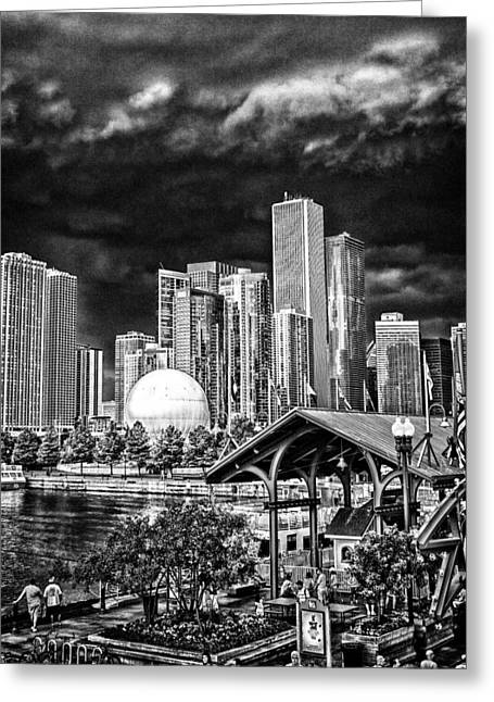 Storm Over Chi Town Greeting Card by Robert  FERD Frank