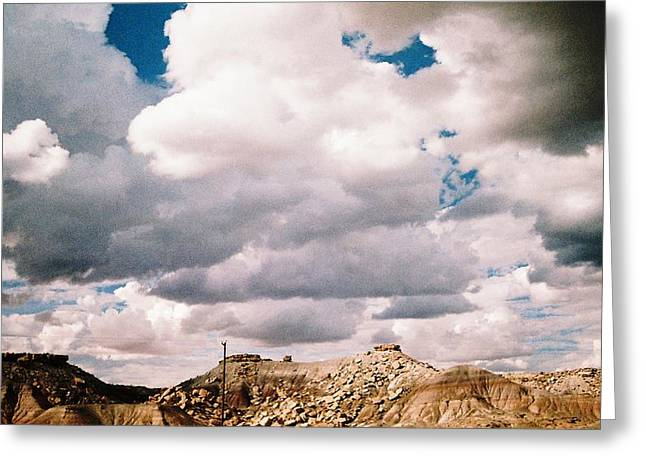 Storm Over Western  Desert Quarry Greeting Card by Belinda Lee