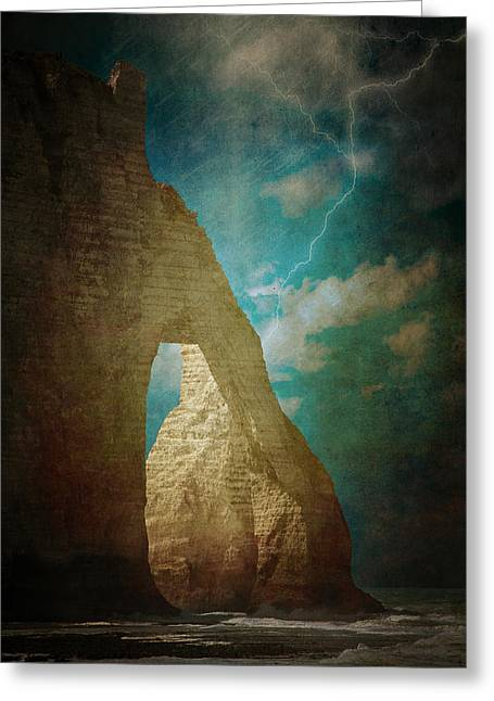 Storm Over Etretat Greeting Card