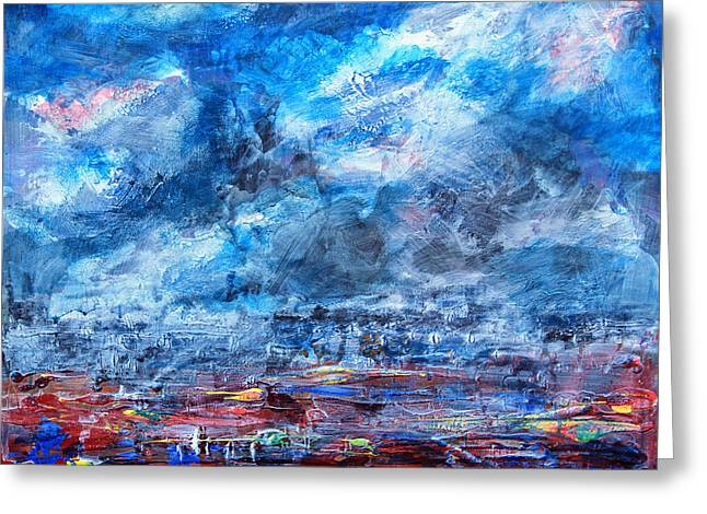 Storm Over Flower Fields Greeting Card by Walter Fahmy