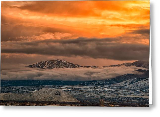 Storm Over Mt Rose Greeting Card by Janis Knight
