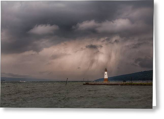 Storm Over Myers Point Greeting Card by Michele Steffey