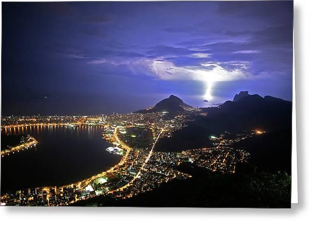 Storm Over Rio De Janeiro Greeting Card