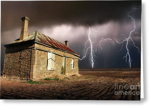 Storm Over Ruin Greeting Card by Shannon Rogers