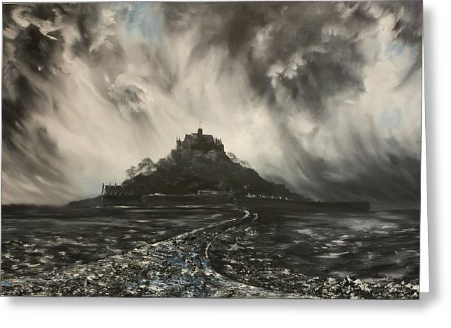 Greeting Card featuring the painting Storm Over St Michaels Mount Cornwall by Jean Walker