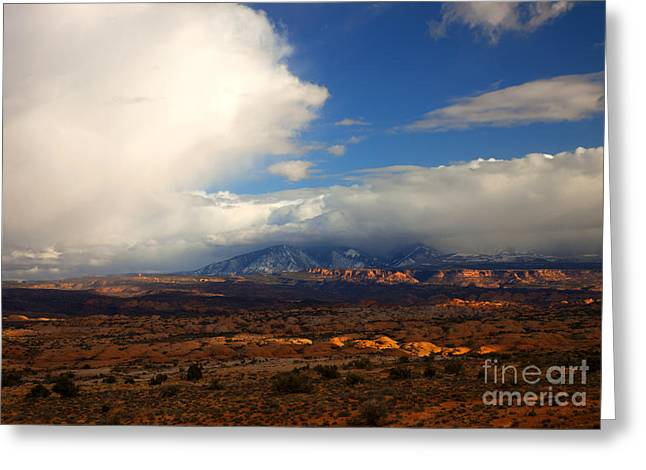 Storm Over The La Sals Greeting Card by Mike  Dawson
