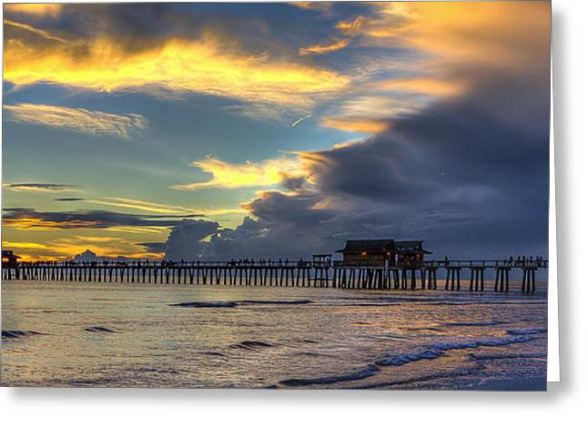Storm Over The Pier Greeting Card