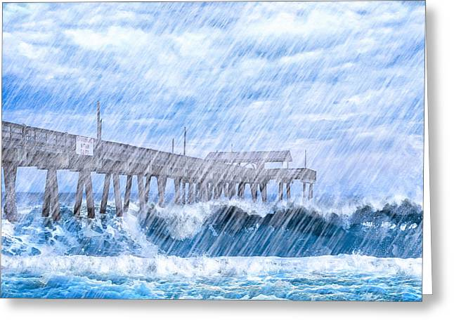 Storm Over The Sea - Tybee Pier Greeting Card by Mark E Tisdale