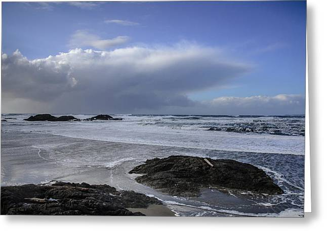 Storm Rolling In Wickaninnish Beach Greeting Card by Roxy Hurtubise
