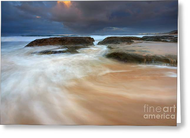 Storm Surge Sunrise Greeting Card by Mike Dawson