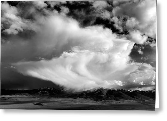 Storm Textures Black And White Greeting Card by Leland D Howard