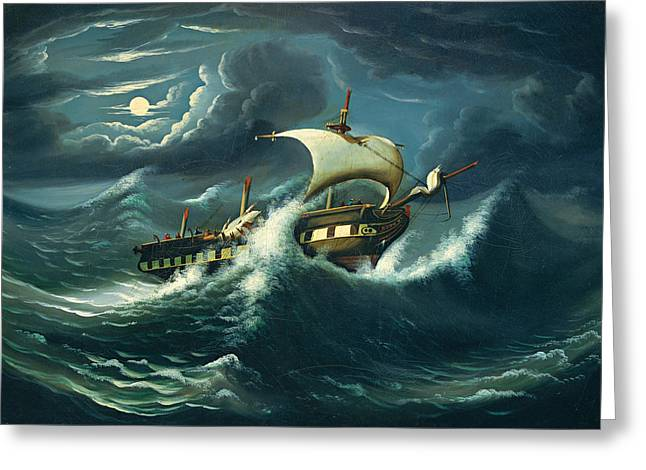 Storm-tossed Frigate Greeting Card by Thomas Chambers