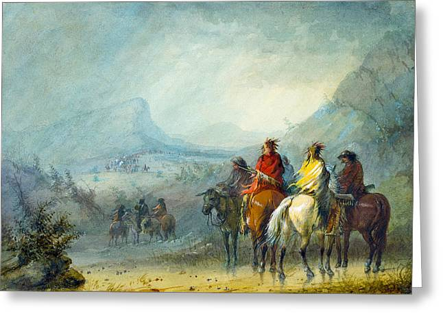 Storm Waiting For The Caravan Greeting Card by Alfred Jacob Miller