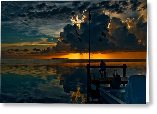Sunset Tropical Storm And Watcher In Florida Keys Greeting Card