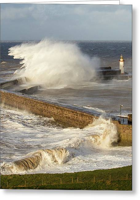 Storm Waves Greeting Card by Ashley Cooper